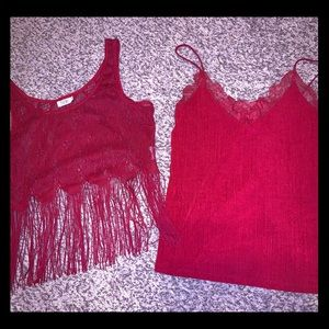 Two deep red tank tops